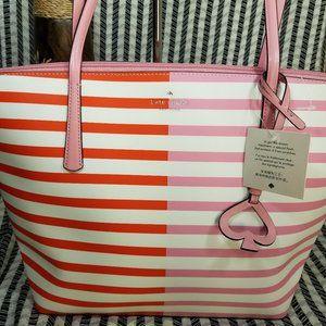 Zina Large Tote Stripe Kate Spade Pink Orange